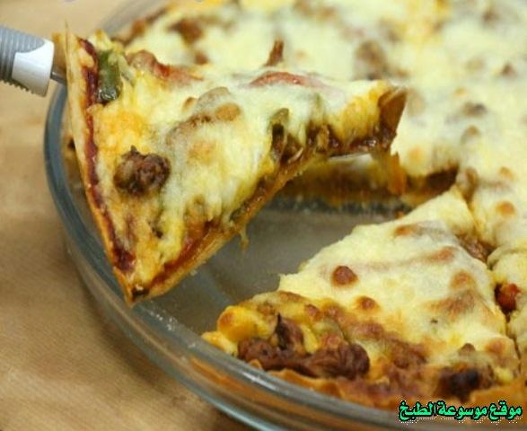-how to make pizza step by step picturesطريقة عمل بيتزا بحشوة الدجاج وكرات اللحم فروحة الامارات بالصور خطوة بخطوة