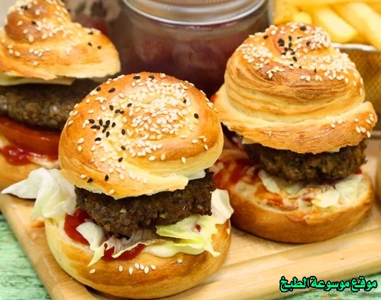 -sandwich recipe-طريقة عمل ساندوتش برجر لحم منزلي بالخبز الحلزوني بالصور خطوة خطوة