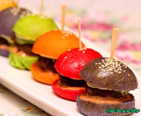 -sandwich recipe-طريقة عمل ساندويش ميني برجر ملون فروحه الامارات خطوه خطوه بالصور